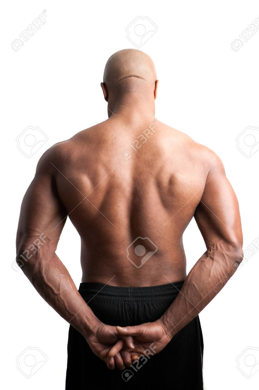Toned and ripped body builder with a muscular back. Stock Photo - 33570035