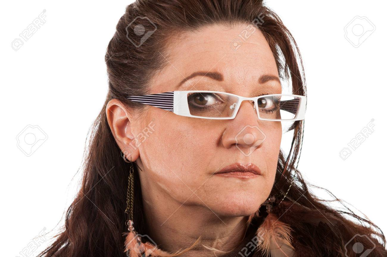Brunette Middle Aged Woman Wearing White Framed Glasses With.. Stock ...