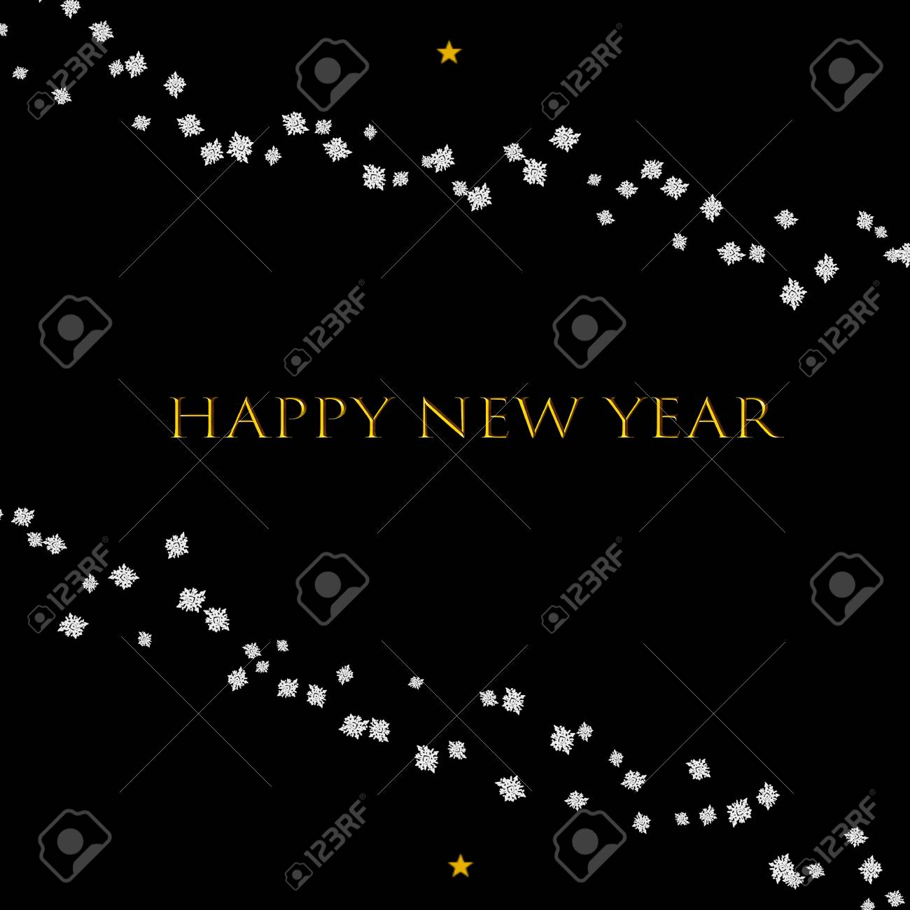 minimalist black happy new year card with snowflakes stock photo 88056770