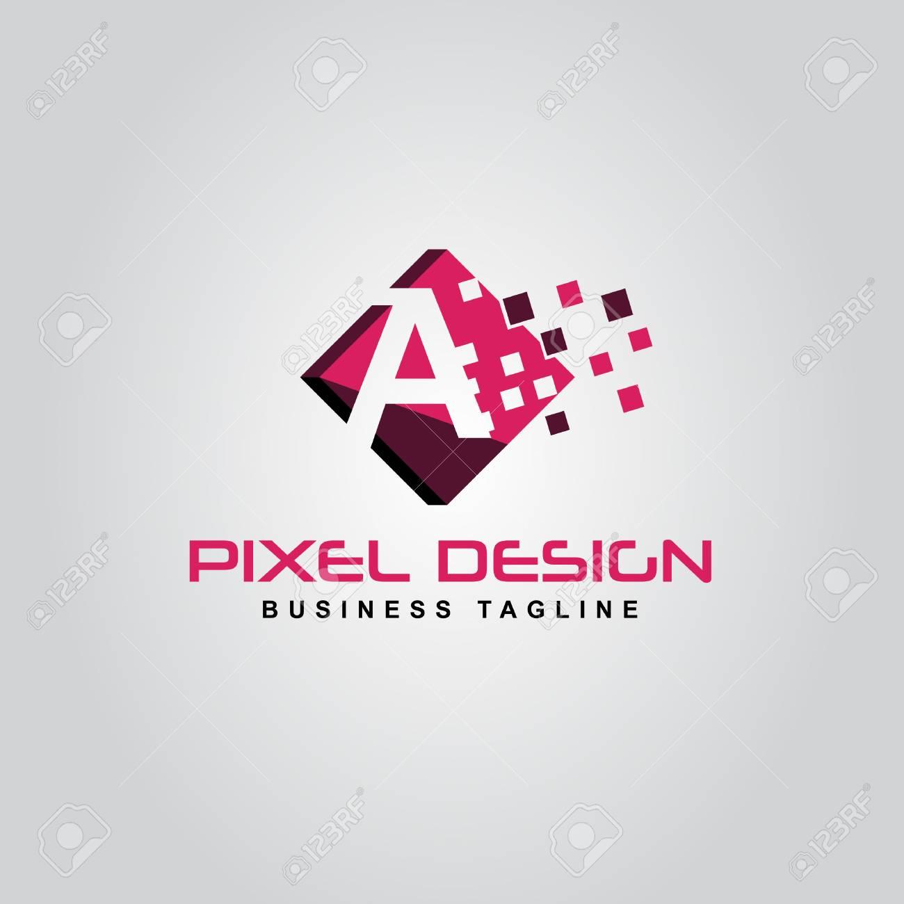 Pixel Logo Design Of The A Letter Logo A Pixel Logo Modern