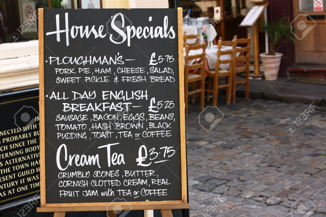 Favorite House Special Menu Board With A Street Cafe Or Restaurant In  UX49