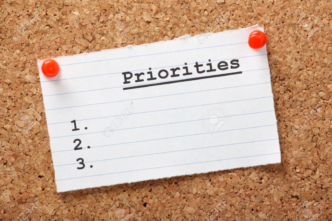 Priority List a Blank List of Priorities on
