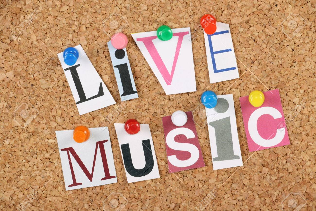 The Words Live Music In Cut Out Magazine Letters Pinned To A