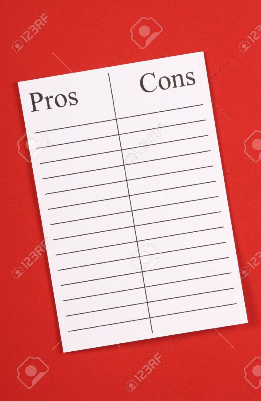 a blank list of pros an cons on lined paper against a red textured a blank list of pros an cons on lined paper against a red textured paper background