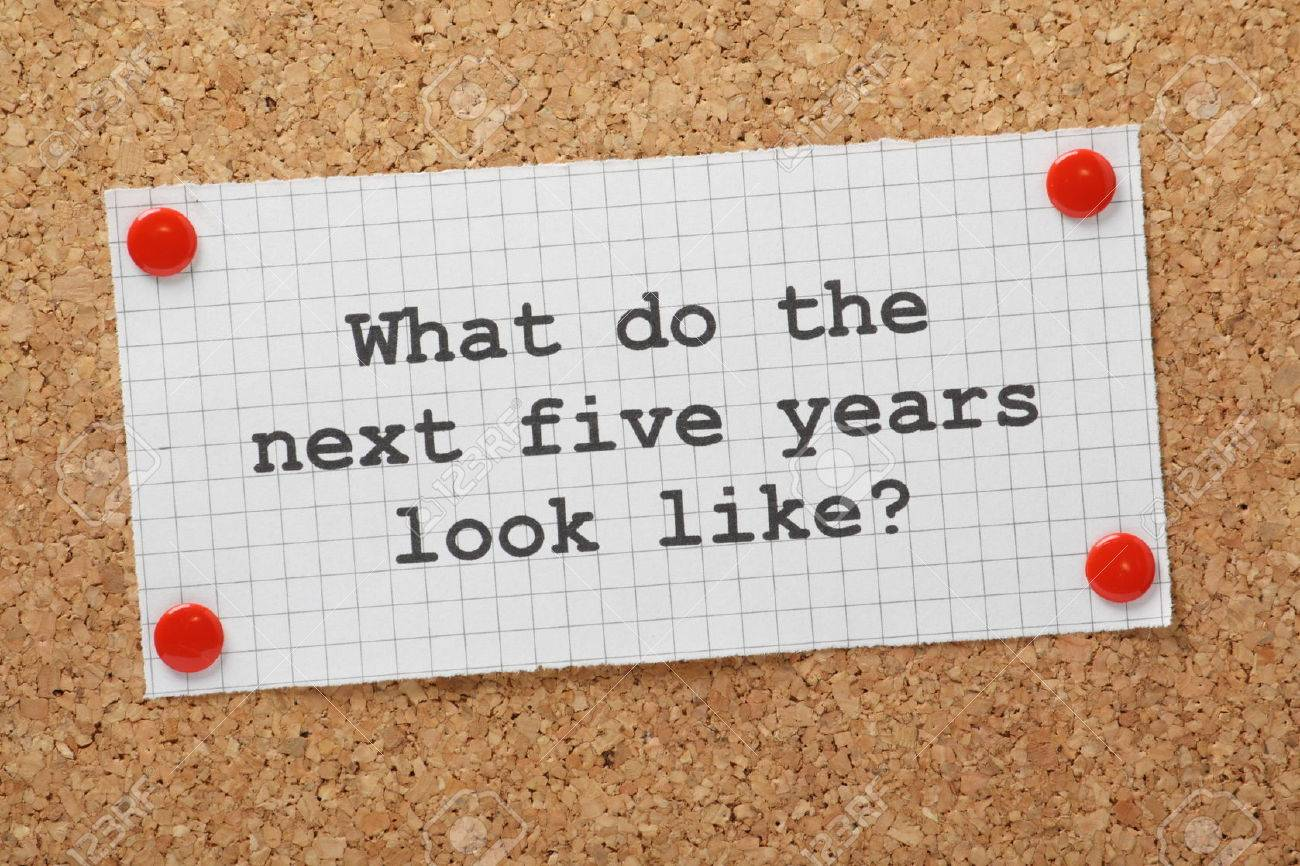 the question what do the next five years look like typed on a stock photo the question what do the next five years look like typed on a piece of graph paper and pinned to a cork notice board a concept for business