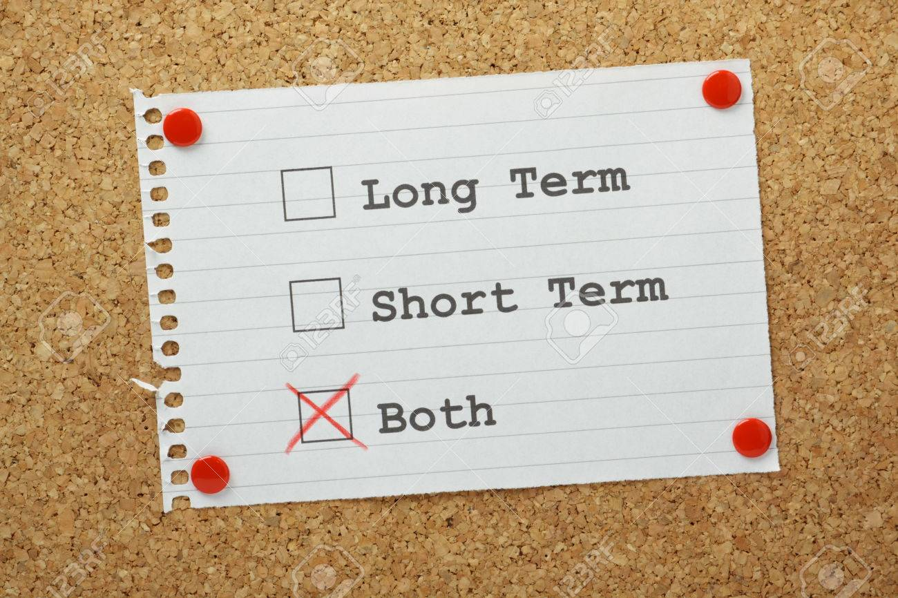 tick boxes for long term short term or both on a reminder pinned stock photo tick boxes for long term short term or both on a reminder pinned to a cork notice board long or short term can be applied to our life goals
