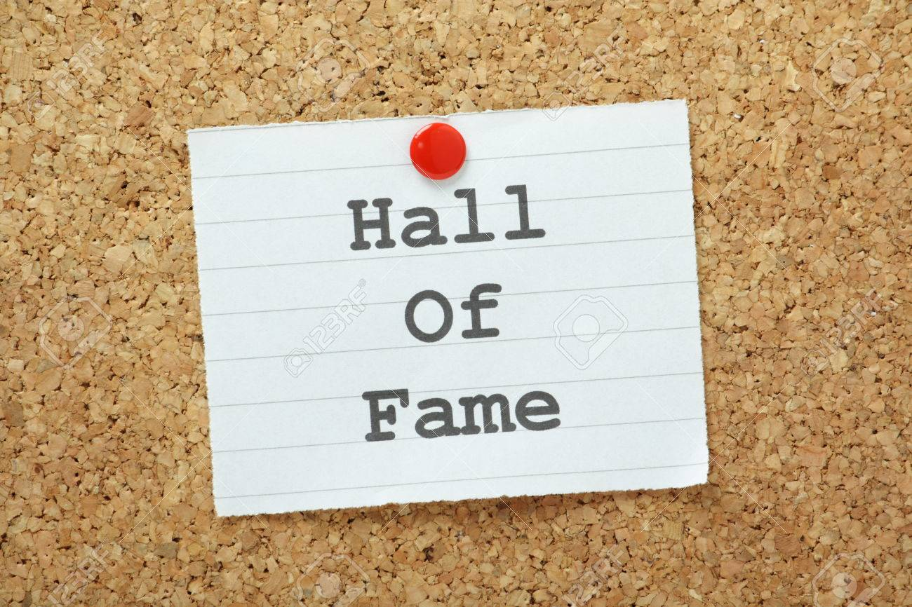 The phrase Hall of Fame typed on a piece of paper and pinned to a cork notice board Stock Photo - 28421787