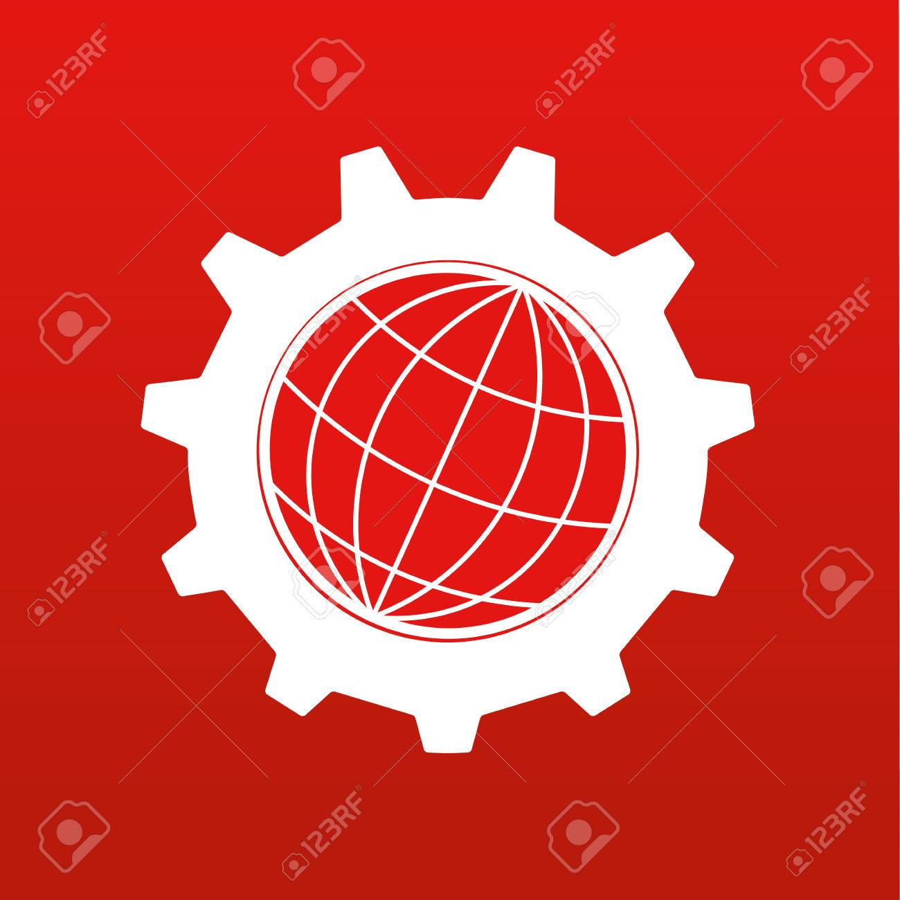 Stylized globe of the Earth inside a gear or cog in white on a red background - 53860555