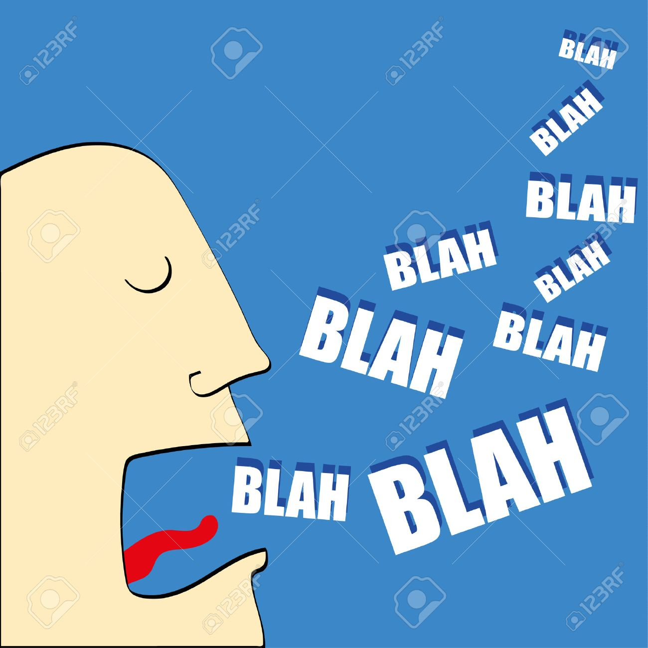 Caricature of man's head with his mouth open and the words Blah,Blah,Blah coming out in white text - 56105066