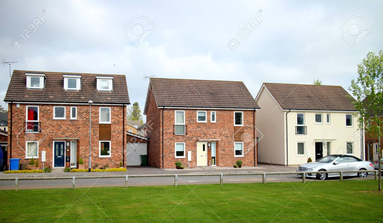 Bracknell england april 12 2017 three detached houses in a row on