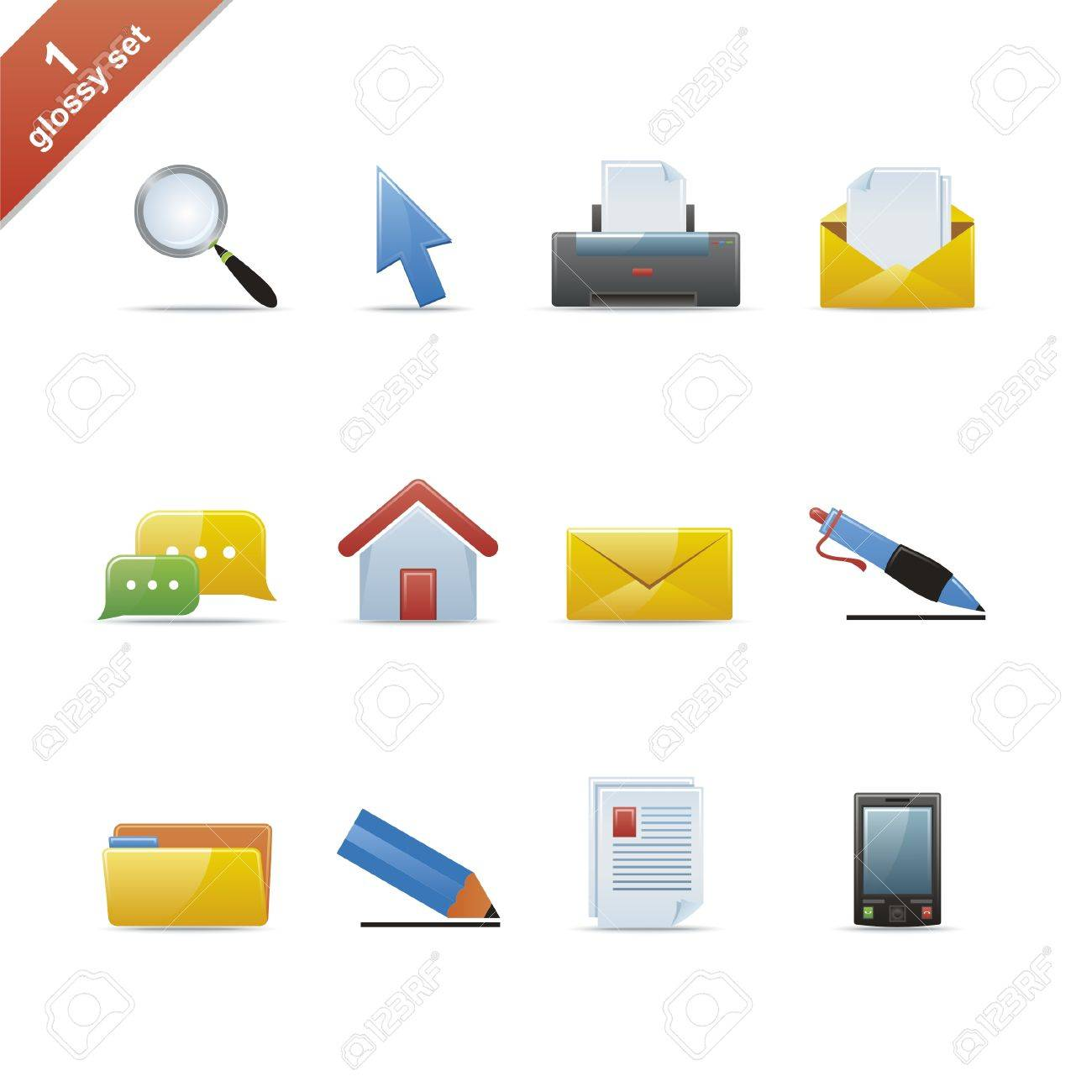 Set of 12 glossy web icons Part 1 (see other in my portfolio) Stock Vector - 4809544