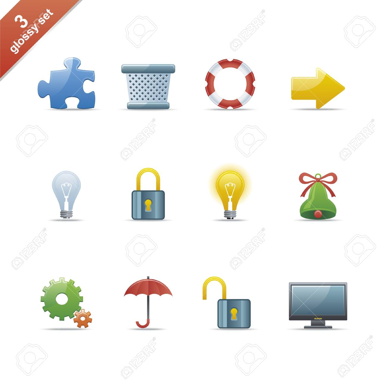Set of 12 glossy web icons Part 3 (see other in my portfolio) Stock Vector - 4809547