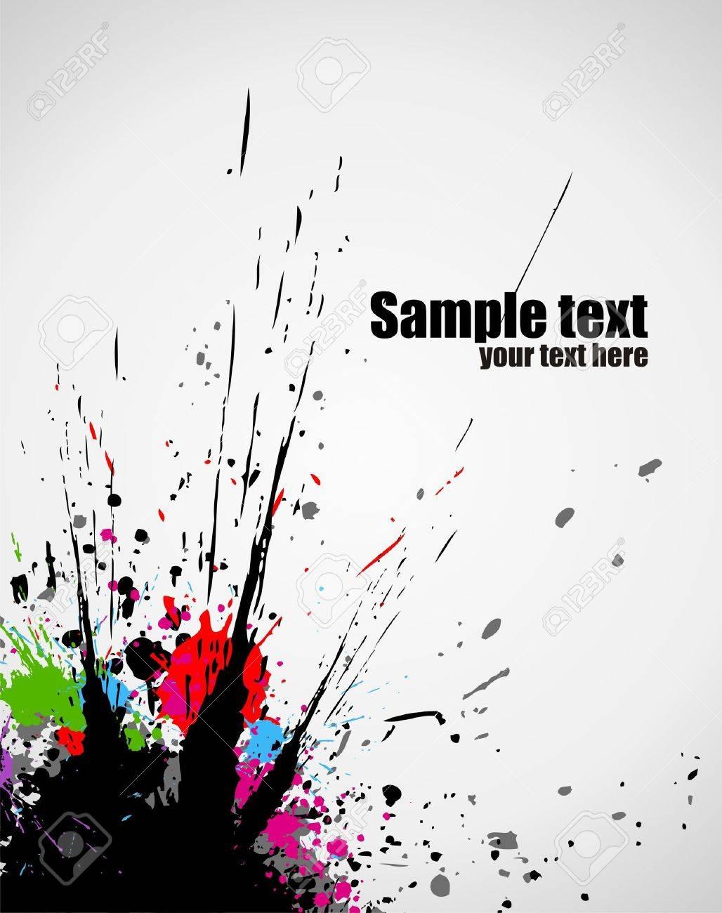 Illustration of line color paint splashes on white background Stock Vector - 5379121