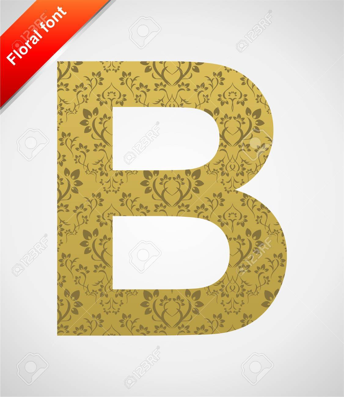 Floral letter isolated on the seamless retro golden damask background Stock Vector - 5441764