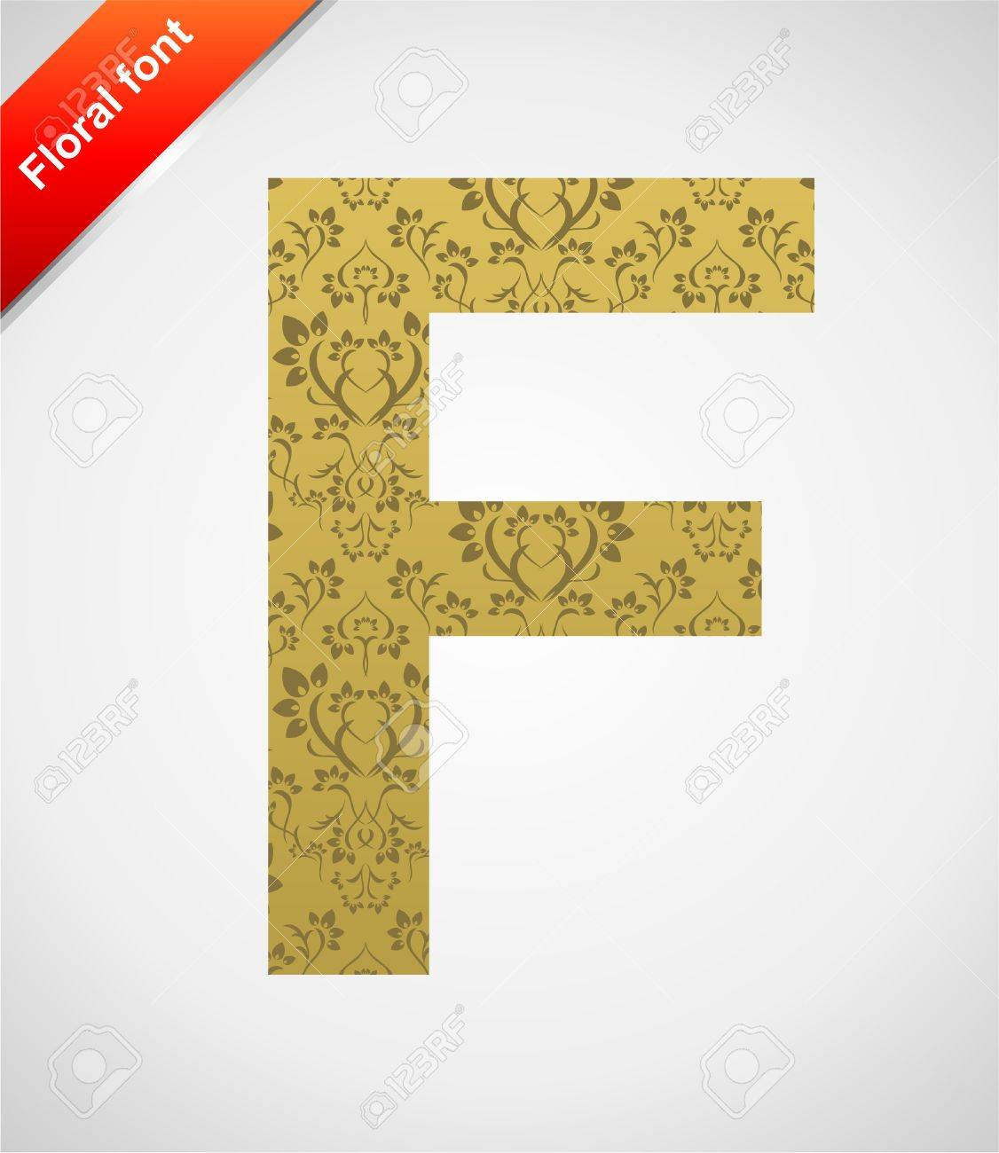 Floral letter isolated on the seamless retro golden damask background Stock Vector - 5441753