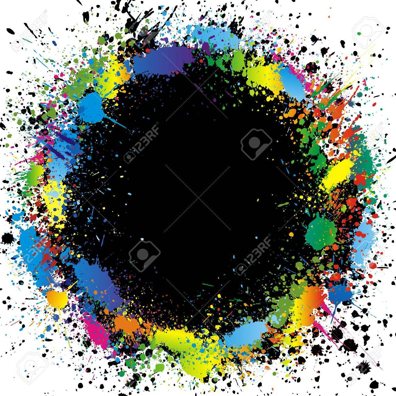 Color paint splashes border. Gradient vector background Stock Vector - 5662687