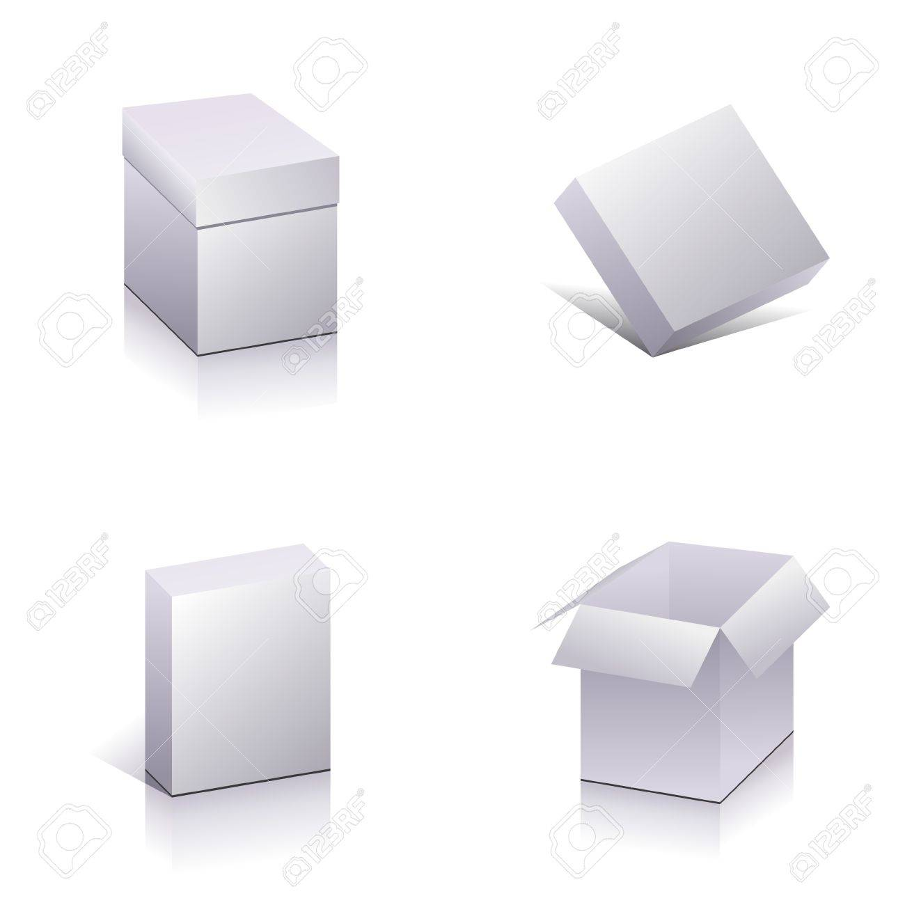set of blank packing template open 3d boxes vector royalty free