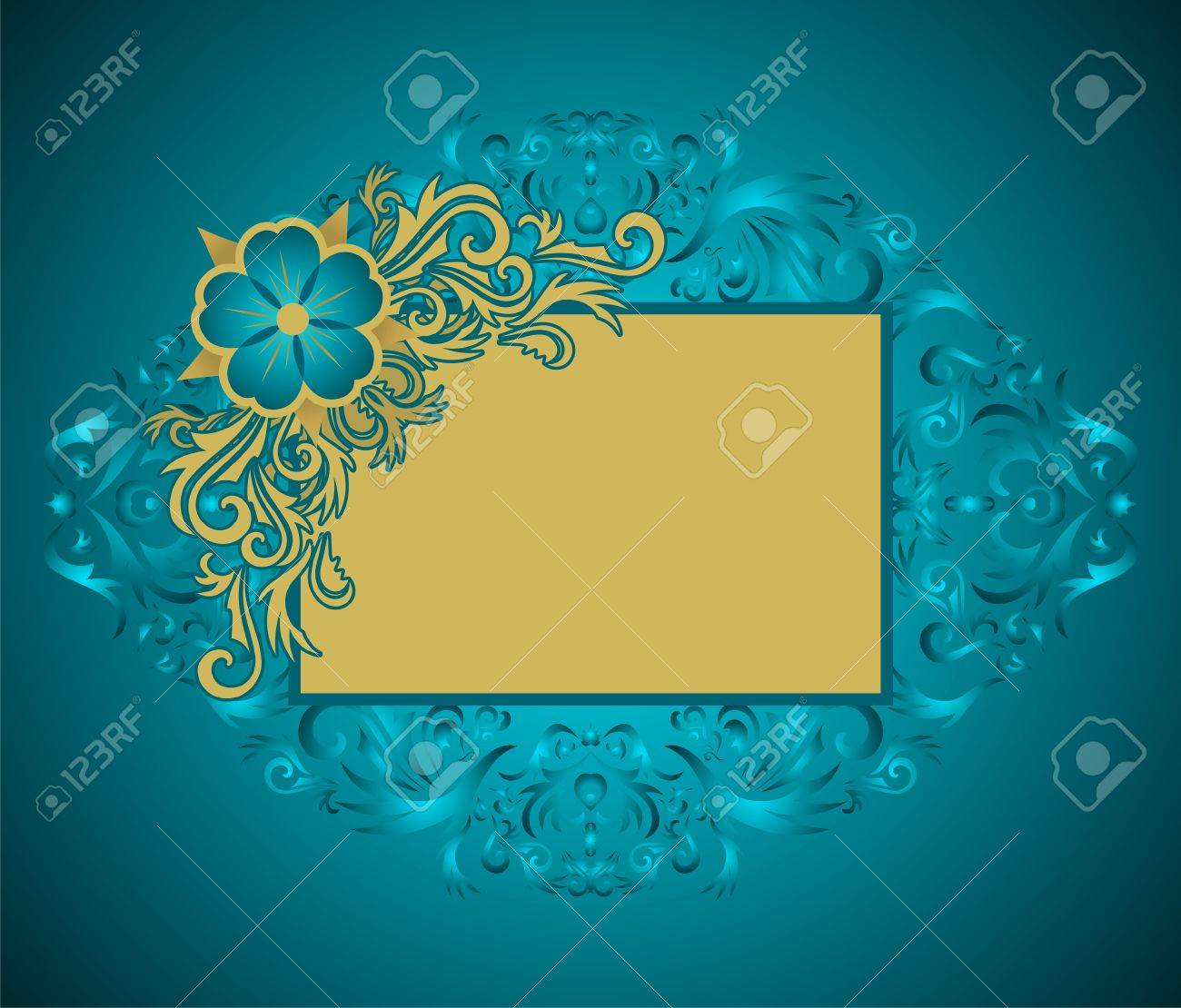 Golden floral frame with place for your text. Stock Vector - 5696741