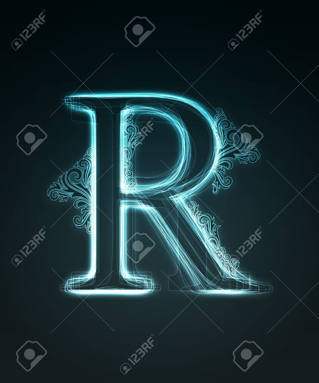 Glowing neon letter with floral decoration on black background. Stock Photo - 6477511