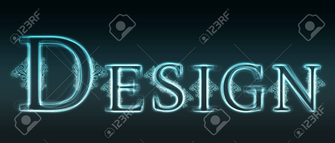 Glowing neon word Design with floral decoration on black background. Stock Photo - 6577906