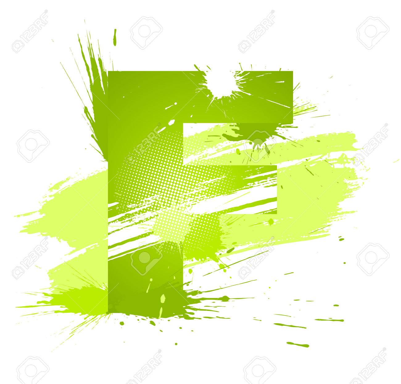 Green abstract paint splashes font. Letter F. Stock Vector - 6729022