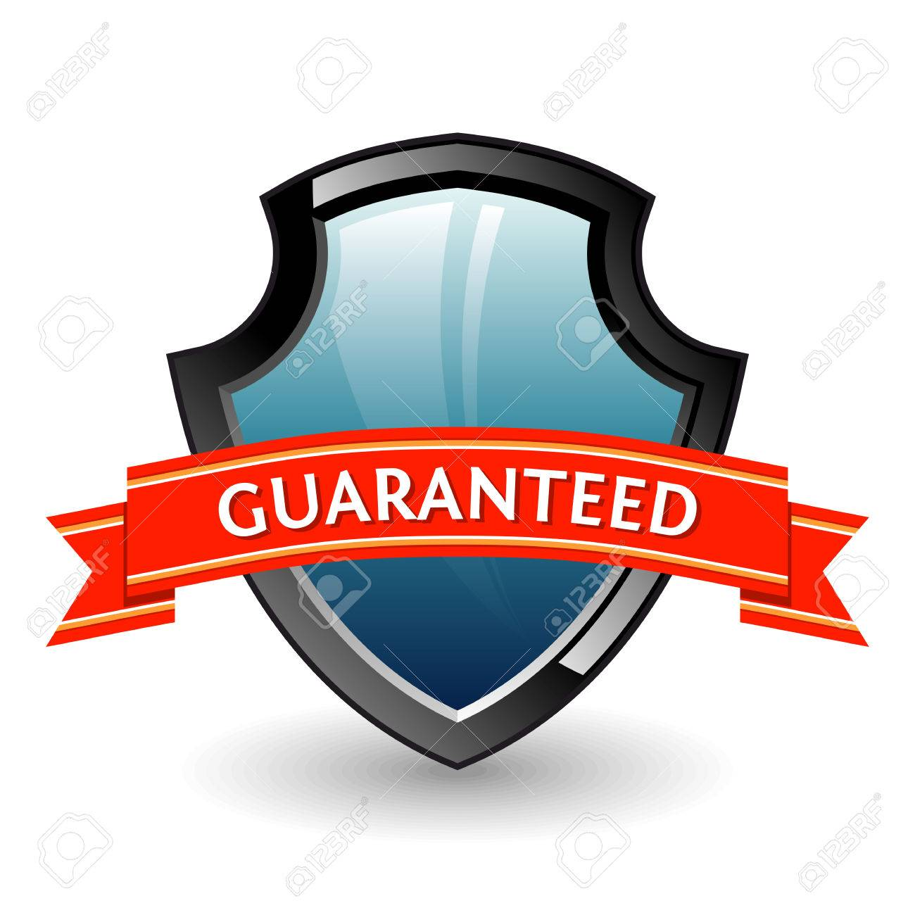 Shield. Color 3D illustration named guaranteed. Stock Vector - 7184396