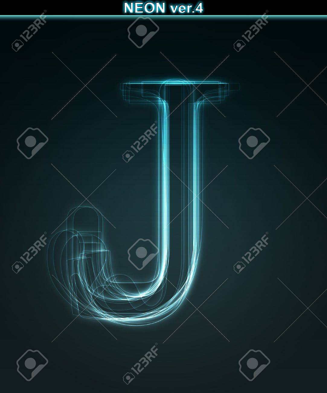 Glowing neon font. Shiny letter J on black background. Stock Photo - 7184397