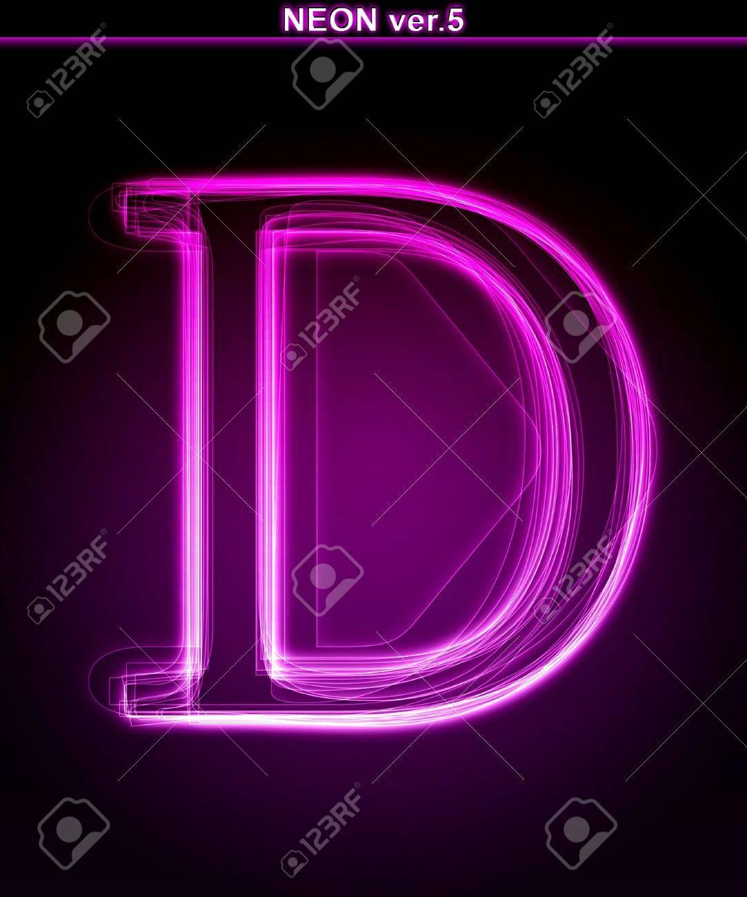 D background images - Glowing Neon Letter On Black Background Letter D Full Font In Portfolio
