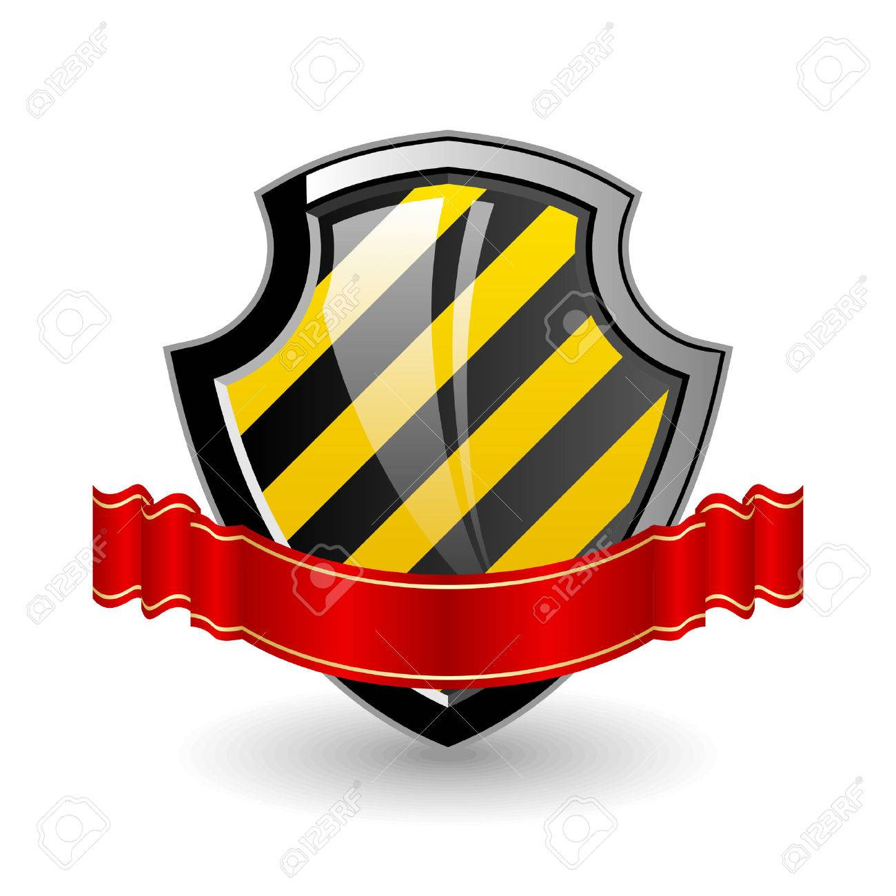 Shield. Color 3D illustration with red  ribbon. Stock Vector - 7744770