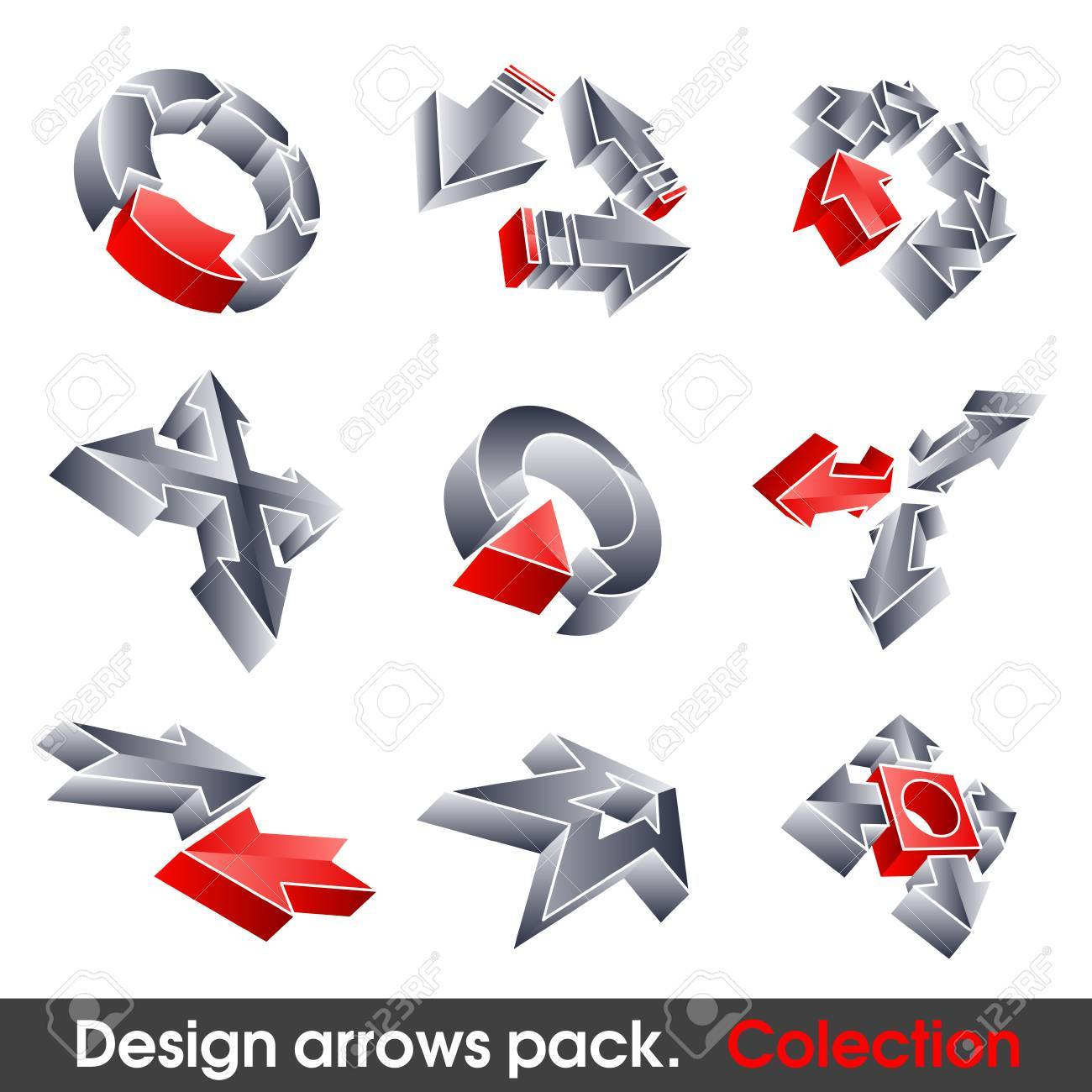 Vector arrows. Design elements. 3D symbol for your artwork. Stock Vector - 7910440