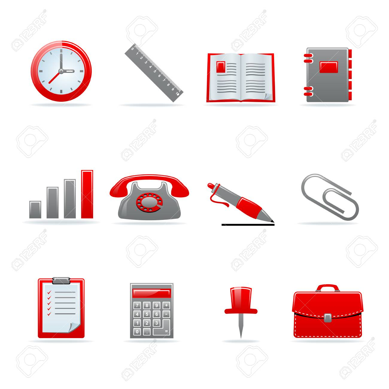 Set of 12 glossy web icons. Shopping, business and money icon set. Part 3. (see other in my portfolio). Stock Vector - 7910453