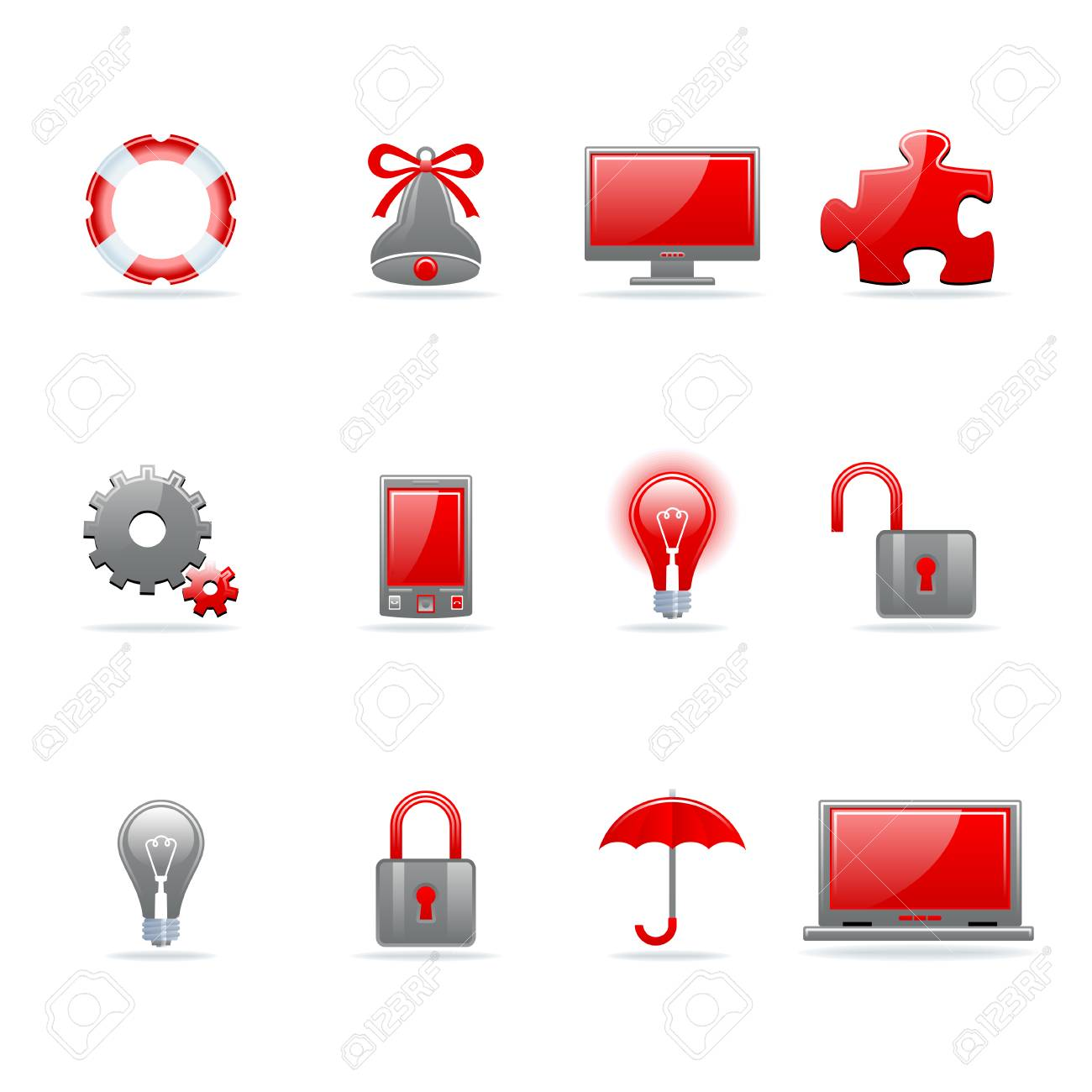 Set of 12 glossy web icons. Shopping, business and money icon set. Part 3. (see other in my portfolio). Stock Vector - 7910451