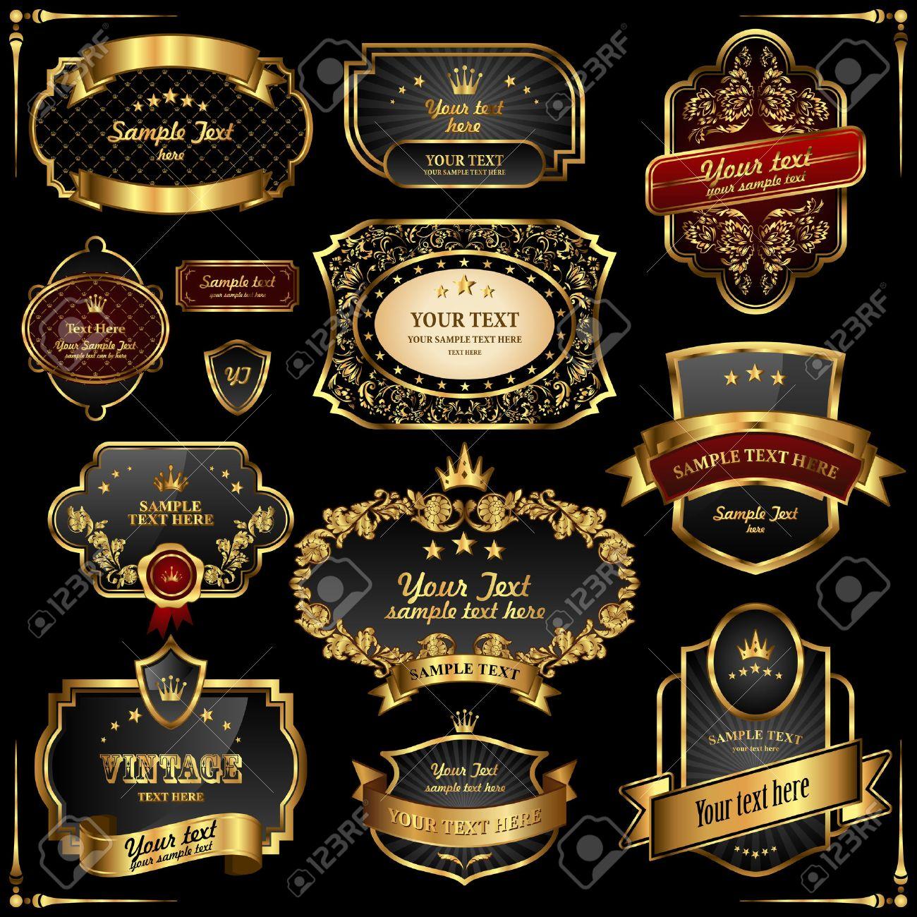 Retro vector gold frames on black background. Premium design elements. Stock Vector - 8497286