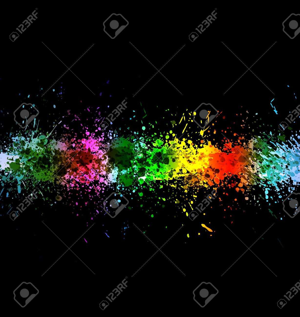 Eps 10 color paint splashes. Gradient vector background on black background. Stock Vector - 8497345