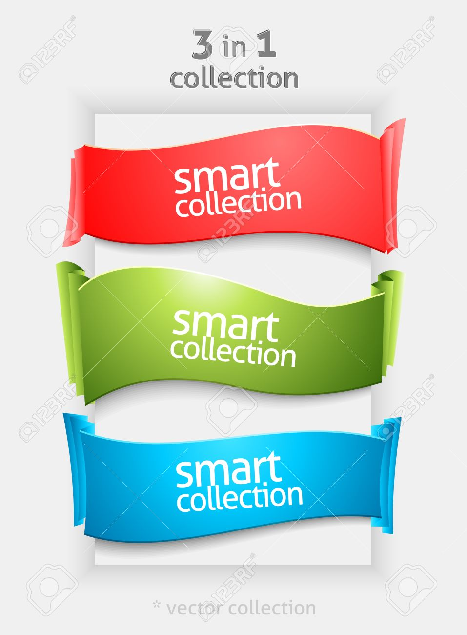 Ribbon and banner collection. Vector paper bookmarks. - 12431731