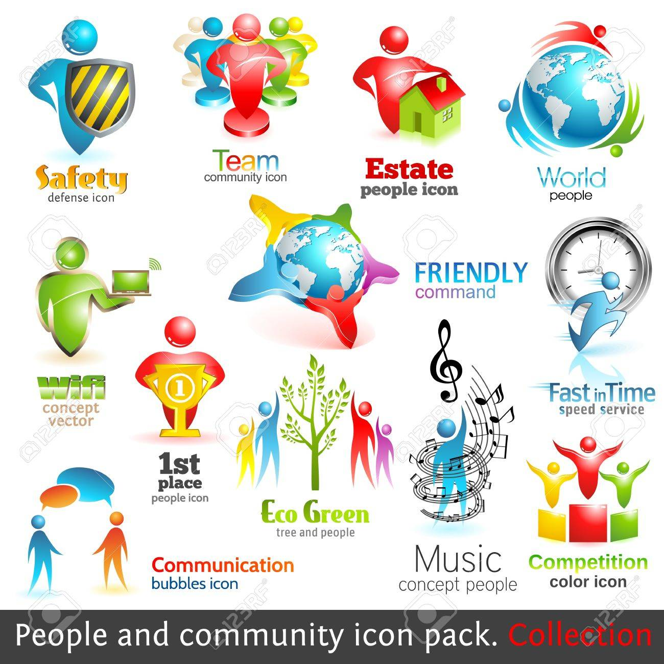 People community 3d icons Stock Vector - 13014627