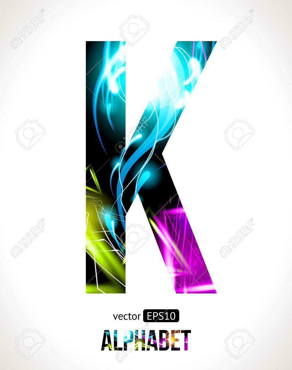 light effect alphabet. Easy customizable.  Letter  K. Stock Vector - 15700665