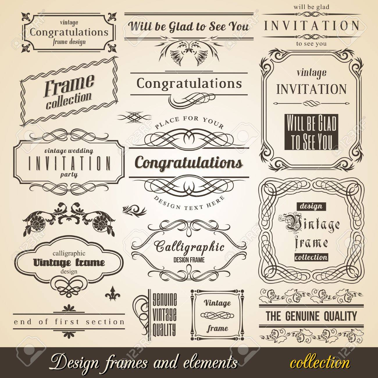 Flourish border corner and frame collection vector card invitation flourish border corner and frame collection vector card invitation text stock vector 16060734 stopboris Image collections