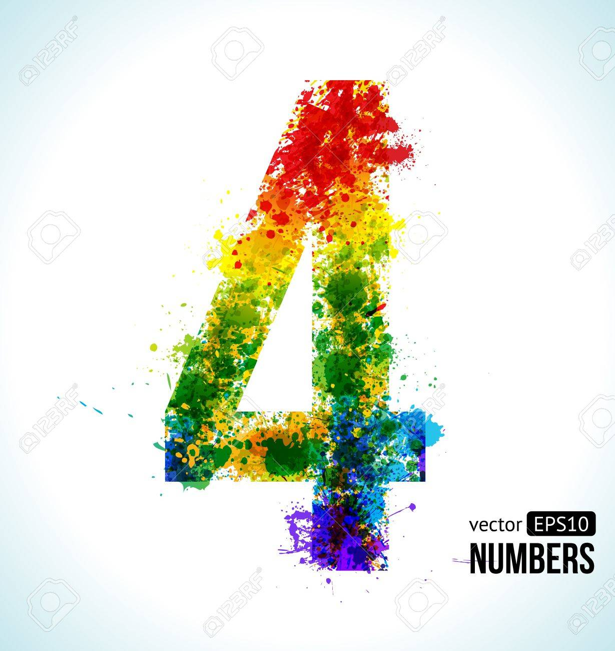 Color Paint Splashes. Gradient Vector Font. Number 4. Royalty Free ...