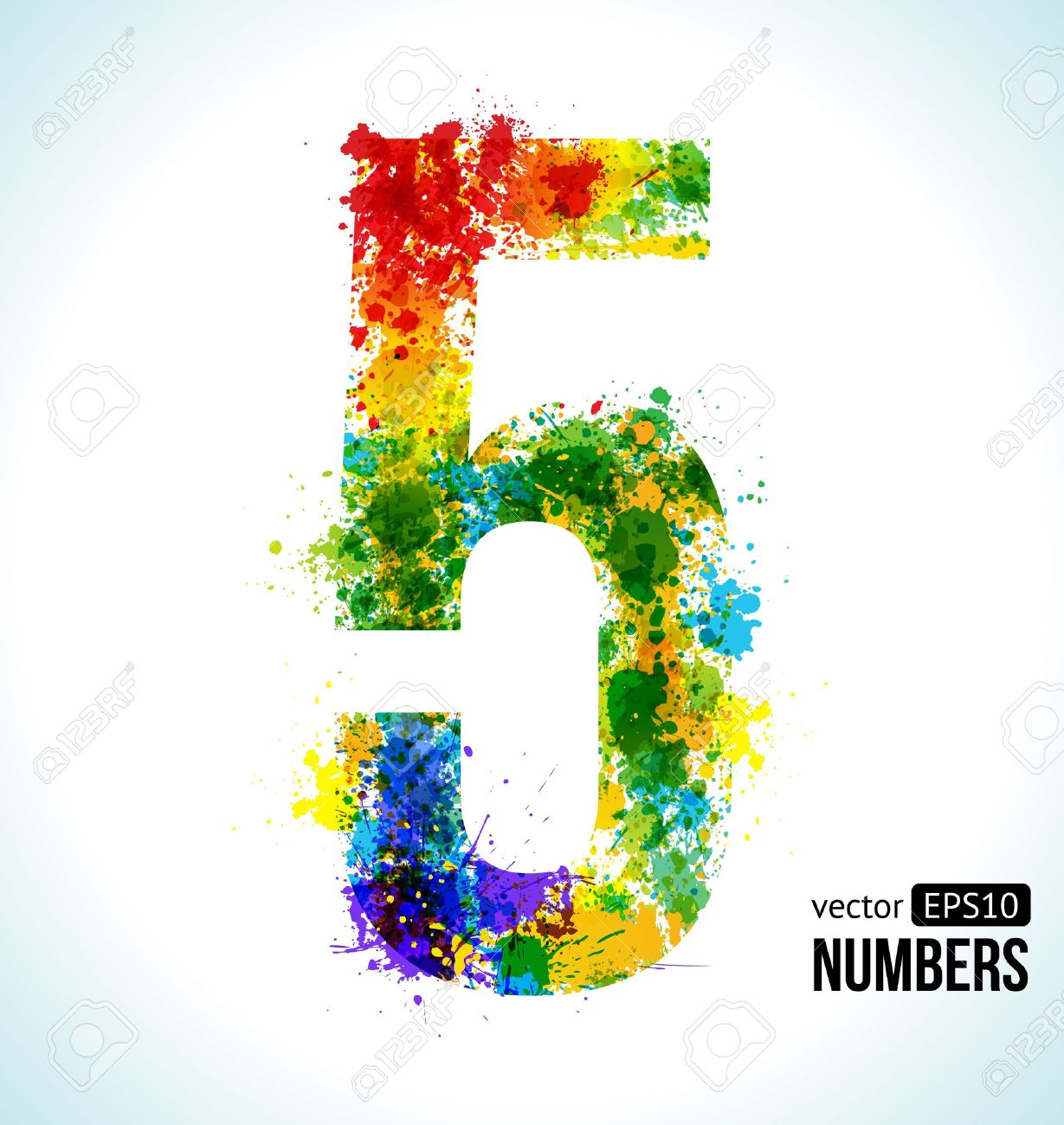 Color Paint Splashes. Gradient Vector Font. Number 5. Royalty Free ...