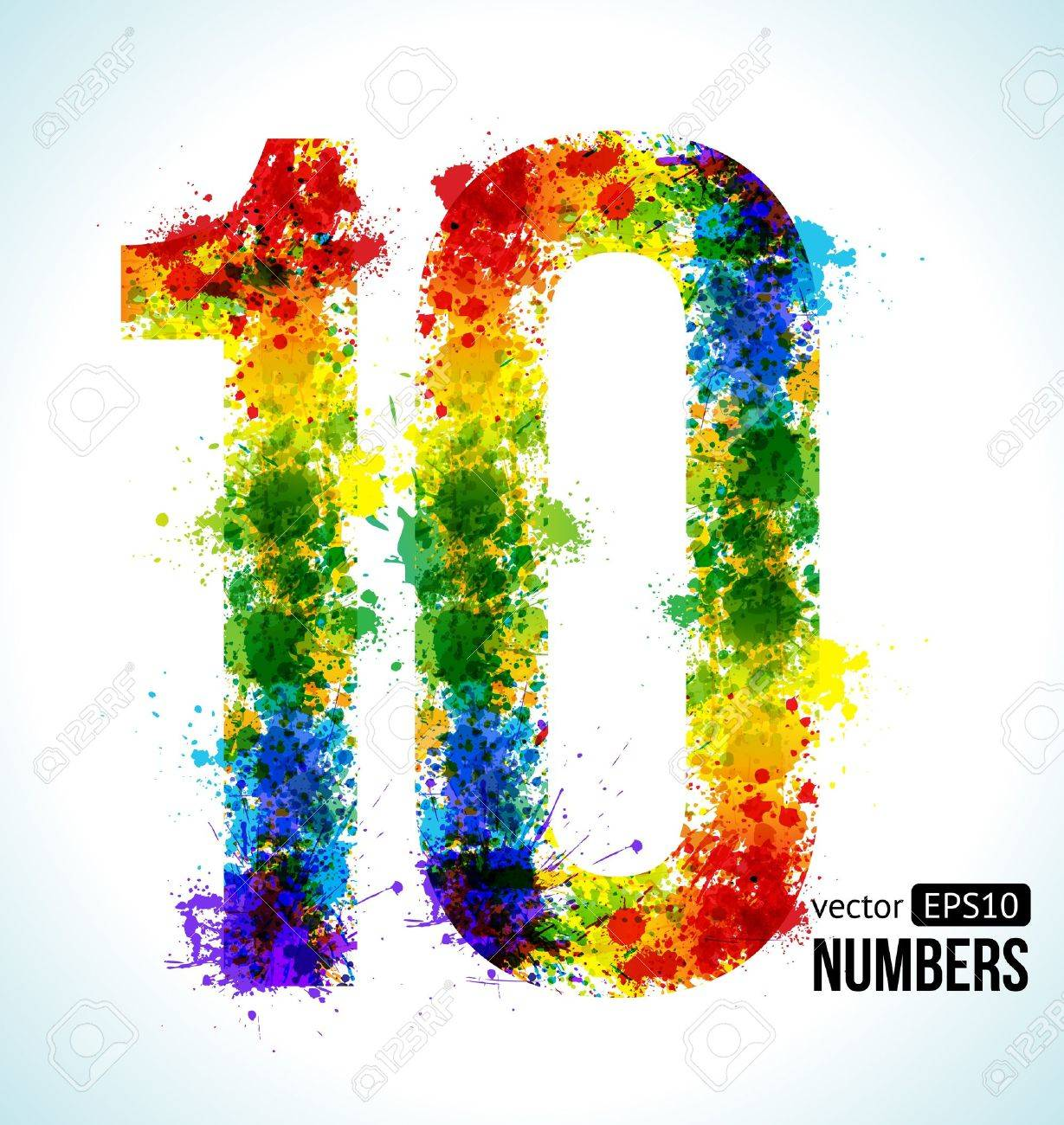 Color Paint Splashes. Gradient Vector Font. Number 10. Royalty Free ...