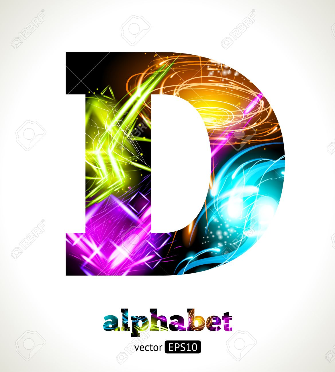 Customizable Light Effect Alphabet Design Abstract Letter D