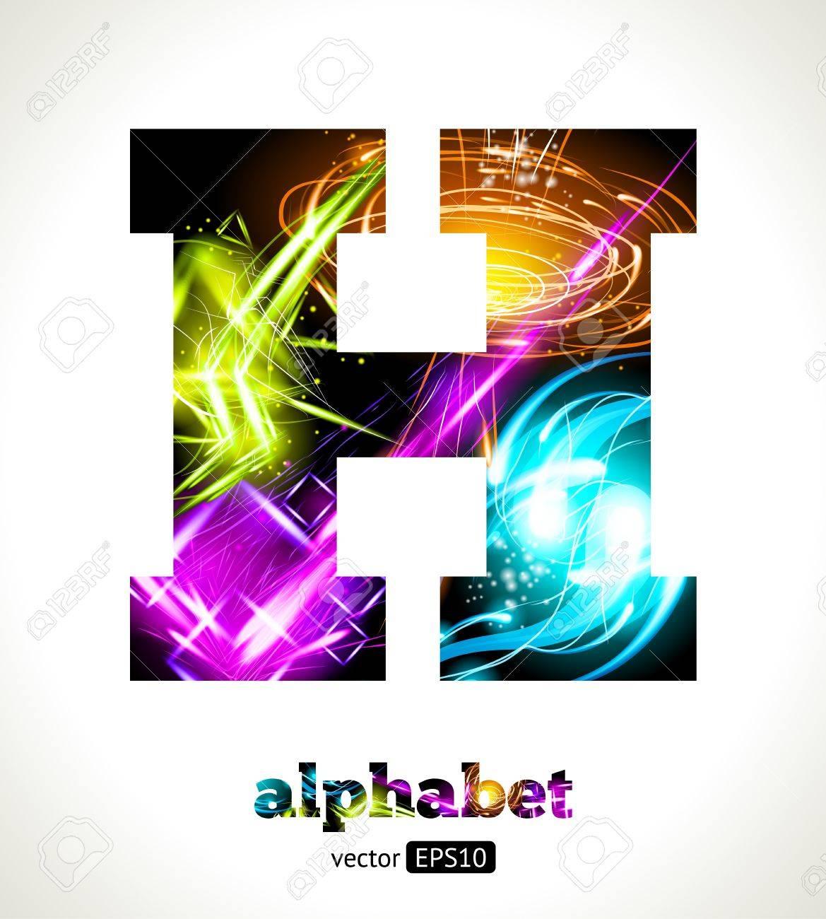 Customizable Light Effect Alphabet. Design Abstract Letter H. Stock Vector - 18626153