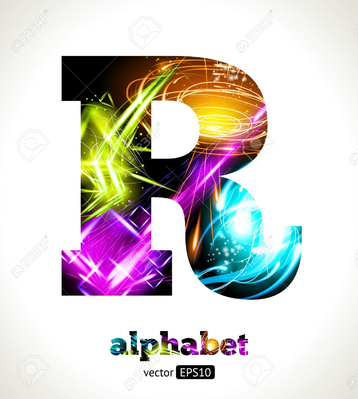 customizable light effect alphabet design abstract letter r