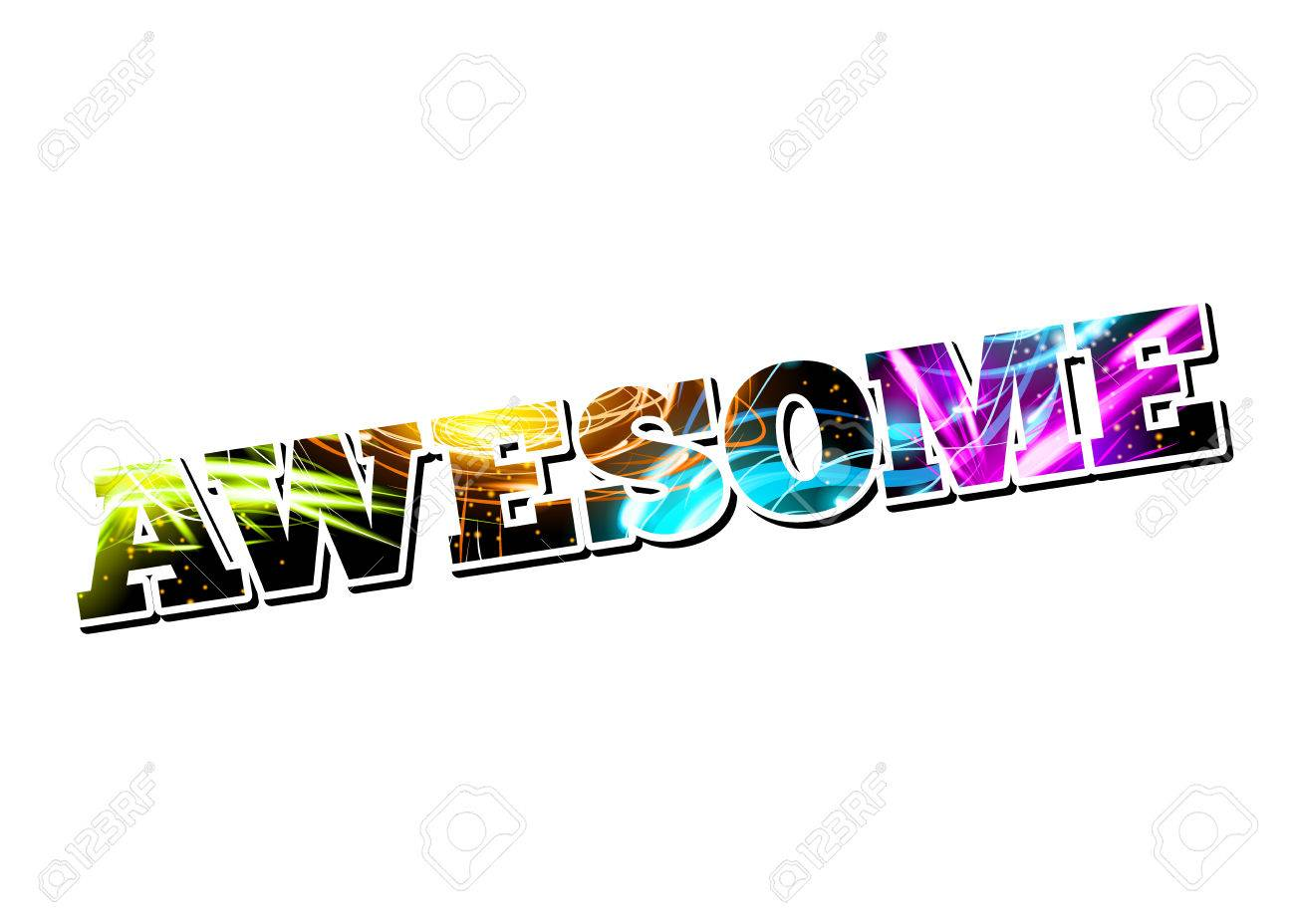 Vector Customizable Light Effect Word Awesome Stock Vector - 23885250