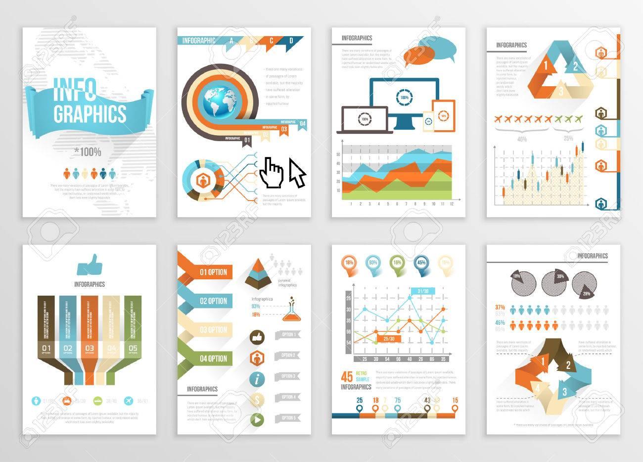 Gran Conjunto De Infografía Elementos Empresariales Ilustraciones ...