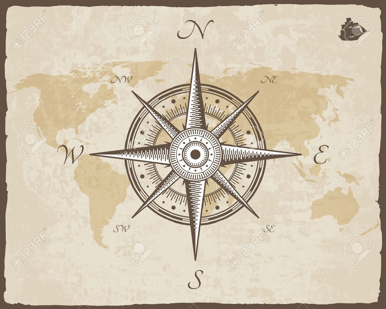 Old Map Vector Paper Texture With Torn Border Frame Wind Rose