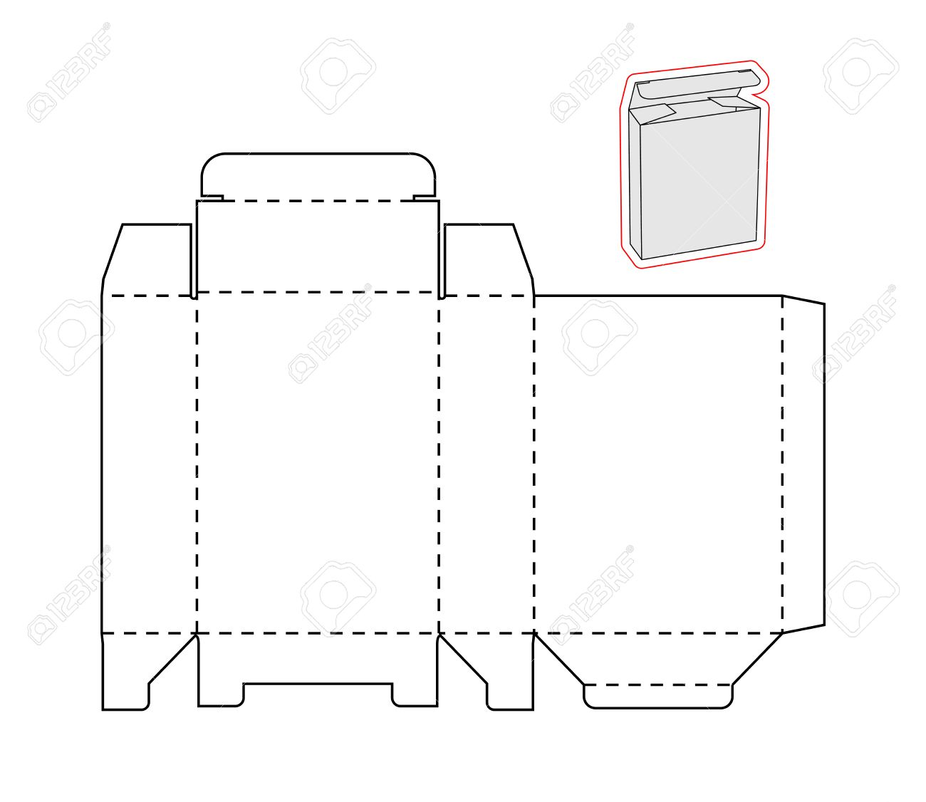 template of a simple box on white background cut out of paper