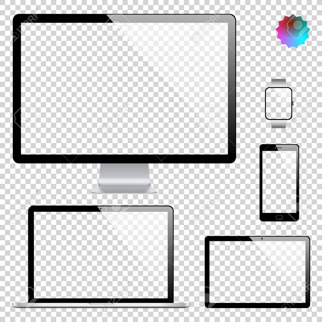 Set of realistic display, laptop, tablet computer, mobile phone, smartphone and smart watch template on transparent background - 60534708