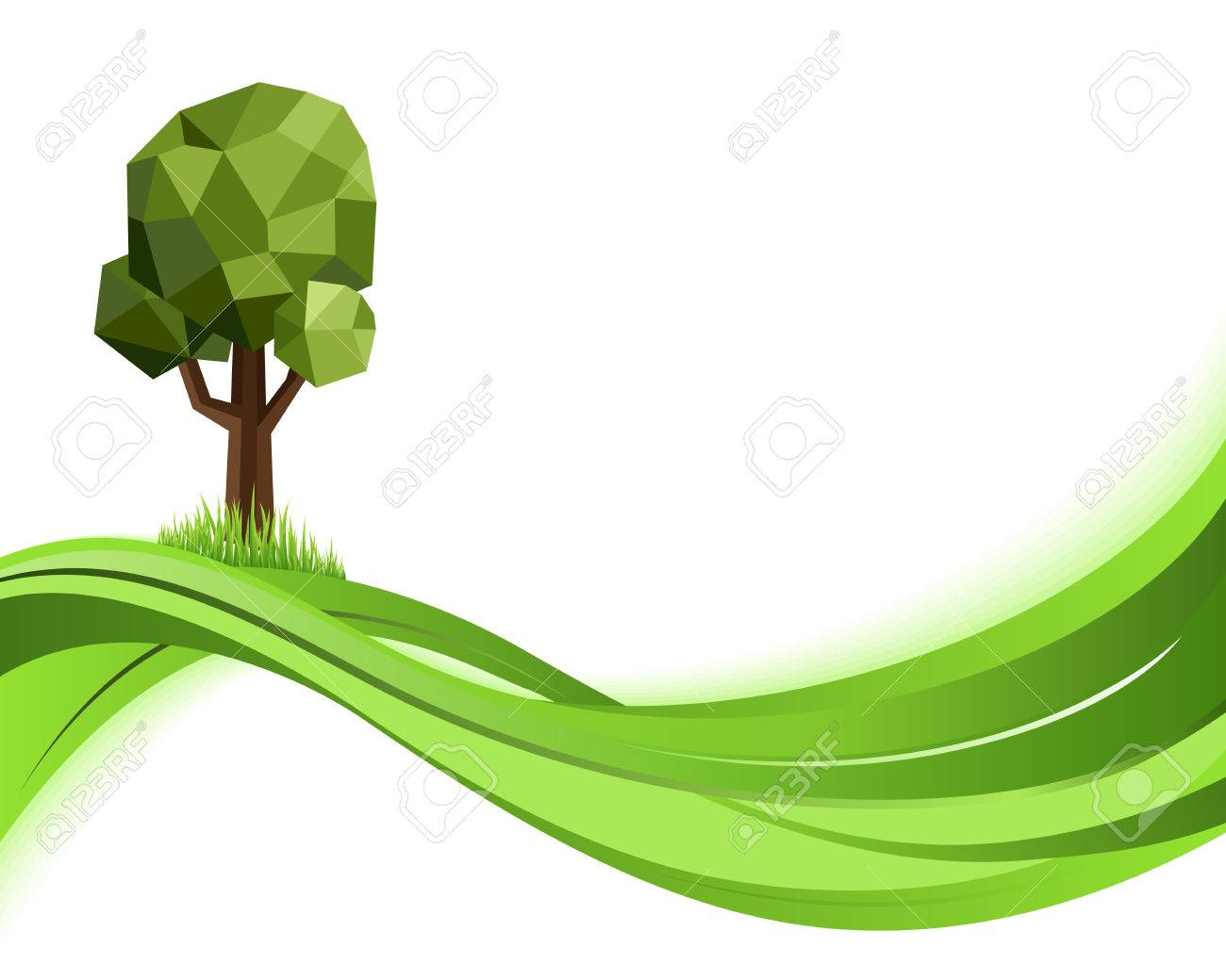 Green wave nature background. Eco concept illustration. Abstract green vector illustration with copyspace - 61658640